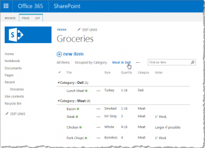 A filtered view on a SharePoint list